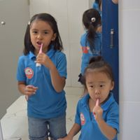 We always brush our teeth after eating!